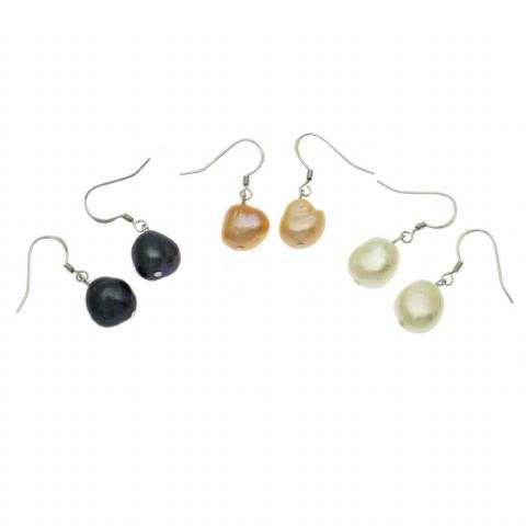 Baroque Pearl Drop Earrings Natural Freshwater Pearls Sterling Silver
